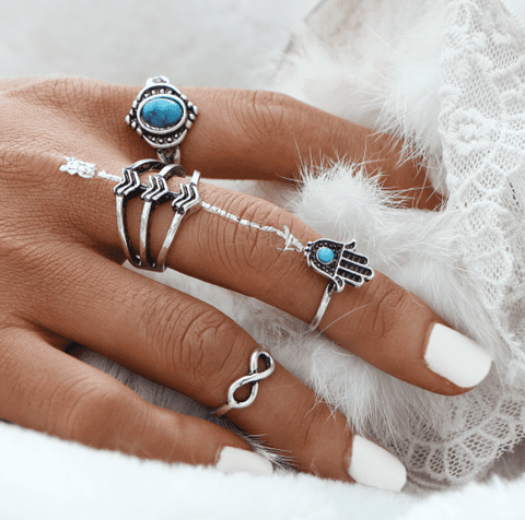 Feshionn IOBI Rings Silver Tone Symbolic Collection Boho Midi-Knuckle Rings Set of 4 - Silver or Gold