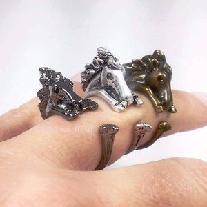 Feshionn IOBI Rings Silver Wild West Horse Adjustable Animal Wrap Ring