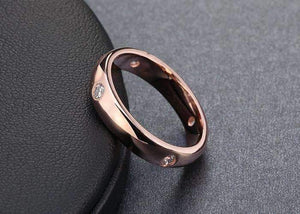 Feshionn IOBI Rings Simply Elegant Four Stone Flush Mount CZ Band Ring in Platinum or Rose Gold Plating - Ring