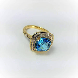 Feshionn IOBI Rings Sky Blue Topaz 5.87Ct Cushion Cut IOBI Precious Gems Ring