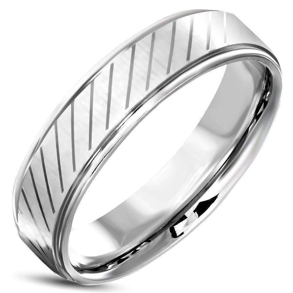 feshionn iobi rings stainless steel mens 6mm diagonal striped comfort fit 316 stainless steel wedding band - Stainless Steel Wedding Ring