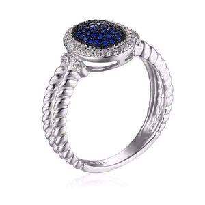 Feshionn IOBI Rings Starlight Blue Spinel Pavé Halo IOBI Precious Gems Ring