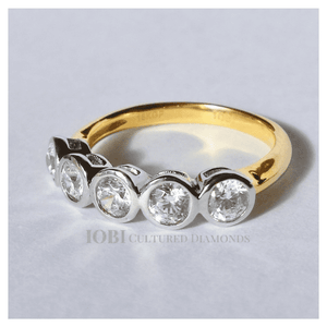 Feshionn IOBI Rings Stella D'ora 1CTW Five Stone Bezel Set IOBI Cultured Diamond Ring