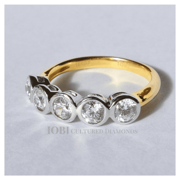 Feshionn IOBI Rings 5 Stella D'ora 1CTW Five Stone Bezel Set IOBI Cultured Diamond Ring