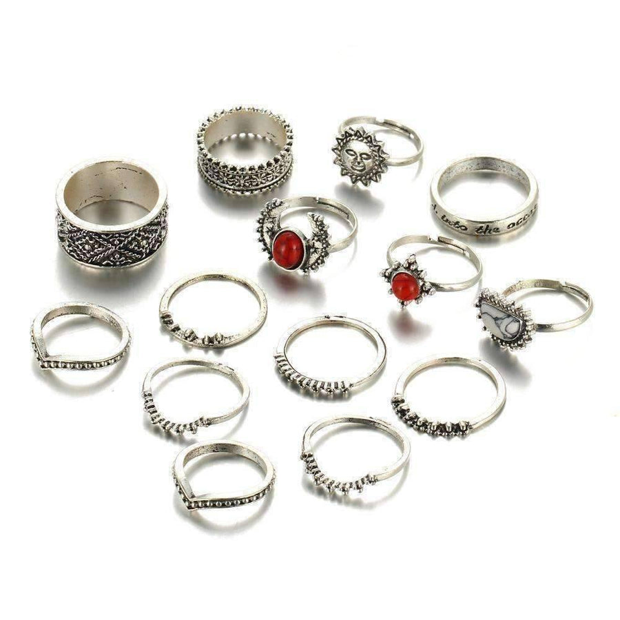 Feshionn IOBI Rings Sunrise Sunset Collection Boho Midi-Knuckle Rings Set of 14