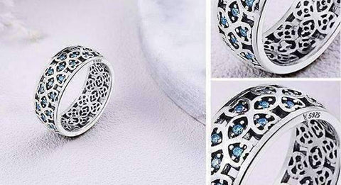 Feshionn IOBI Rings Sweet Blue Clover CZ Sterling Silver Band Ring