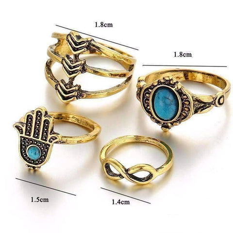 Feshionn IOBI Rings Symbolic Collection Boho Midi-Knuckle Rings Set of 4 - Silver or Gold