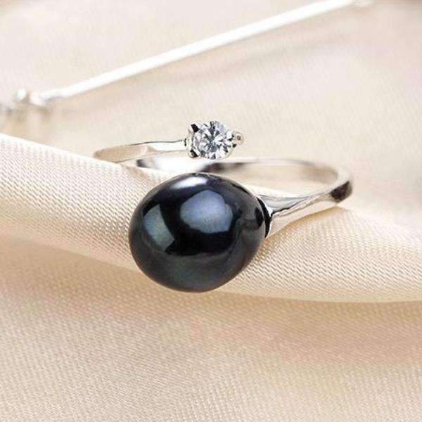Feshionn IOBI Rings Tahitian Black Genuine Freshwater Pearl & CZ Adjustable Bypass Ring
