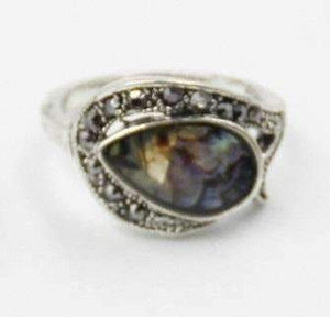 Feshionn IOBI Rings Tear Drop Abalone Shell and Black Crystal Vintage Silver Ring
