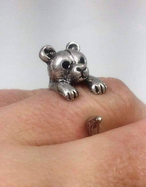 Feshionn IOBI Rings Teddy Bear Adjustable Animal Wrap Ring