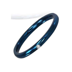 "Feshionn IOBI Rings ""The Little Blue Band"" - Anodized Blue CZ Ring"