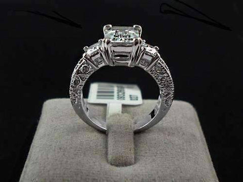 Feshionn IOBI Rings Timeless Three Stone Emerald Cut Swiss CZ Diamond Engagement Ring with Princess Accents - Ring