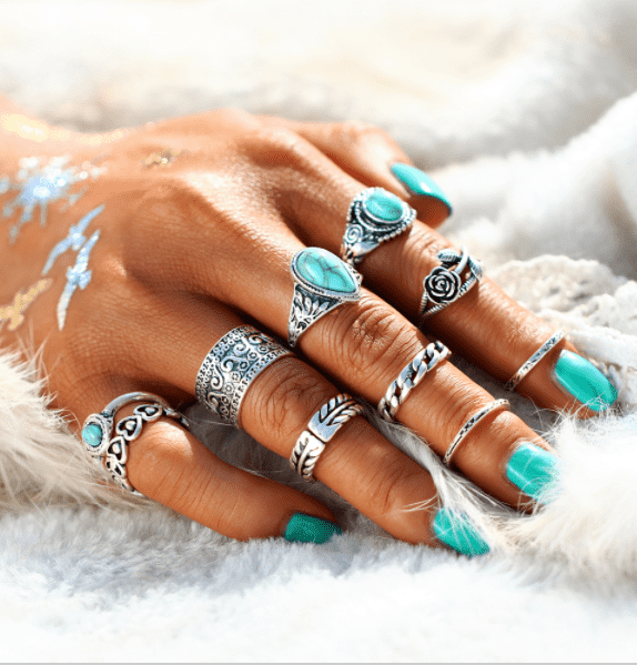 Turquoise Trendy Boho Midi Knuckle Rings Set of 10 Silver or