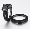 Image of Feshionn IOBI Rings Twilight Hearts Black Gold CZ Solitaire Engagement Ring Set