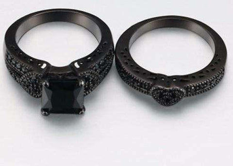 Feshionn IOBI Rings Twilight Hearts Black Gold CZ Solitaire Engagement Ring Set