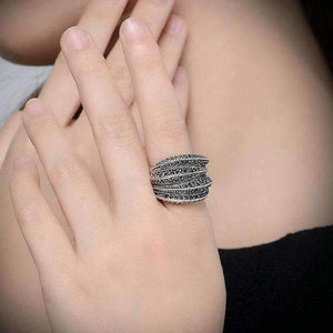 Feshionn IOBI Rings Twisted Black Marcasite Vintage Cocktail Ring