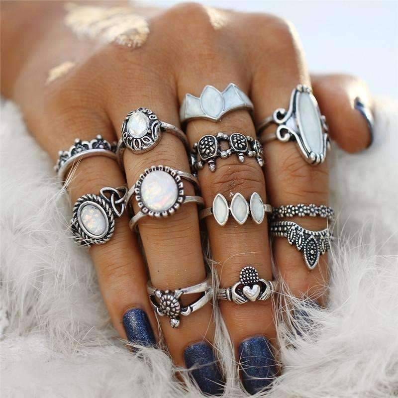 ultimate opal collection boho midi knuckle rings set of 12