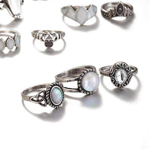 Feshionn IOBI Rings Ultimate Opal Collection Boho Midi-Knuckle Rings Set of 12