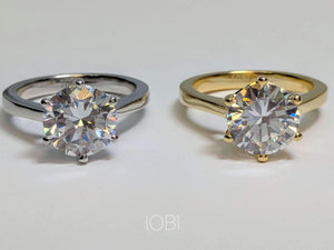 Feshionn IOBI Rings Victoria 4CT Round Cut IOBI Cultured Diamond Solitaire Ring