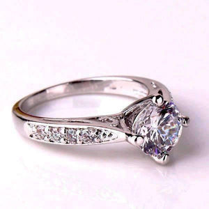Feshionn IOBI Rings Vintage Filigree Channel Set Round CZ Solitaire Engagement Ring
