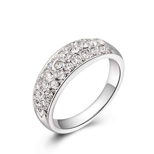 Feshionn IOBI Rings White Gold / 6 ON SALE - 18K Gold Pave Austrian Crystals Band Ring - Choose Your Color - Ring