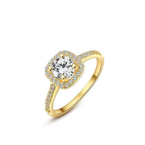 Feshionn IOBI Rings Yellow / 5 ON SALE - Bella Vita Halo 2 CT Round Austrian Crystal Ring ~ In Three Colors
