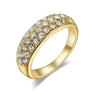 Feshionn IOBI Rings Yellow Gold / 5.5 ON SALE - 18K Gold Pave Austrian Crystals Band Ring - Choose Your Color - Ring