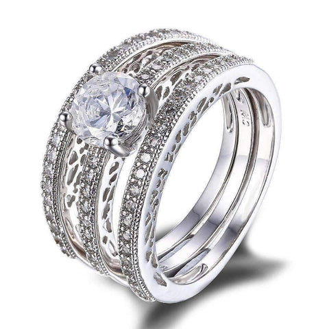 Feshionn IOBI Rings Yesterday, Today and Tomorrow 3 Band Filigree Cubic Zirconia Wedding Ring Set