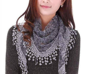 Feshionn IOBI Scarf Gray ON SALE - Sheer Elegance Shawl Scarf