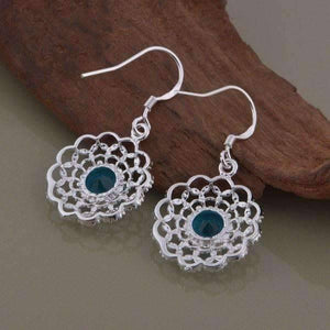 Feshionn IOBI Sets Aqua CZ Sterling Silver Filigree Medallion Matching Necklace and Earring Set