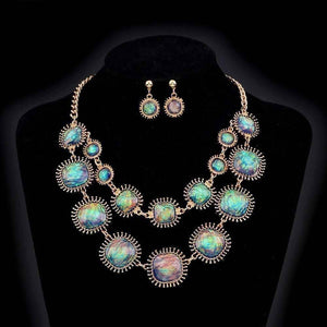 Feshionn IOBI Sets Blue-Pink Exotic Peacock Iridescent Cabochon Layered Necklace and Earring Set