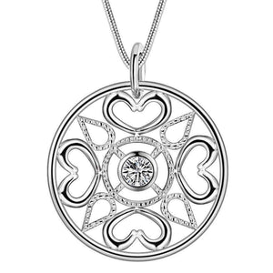 Feshionn IOBI Sets Compass Heart CZ Medallion Sterling Silver Necklace and Earrings Set