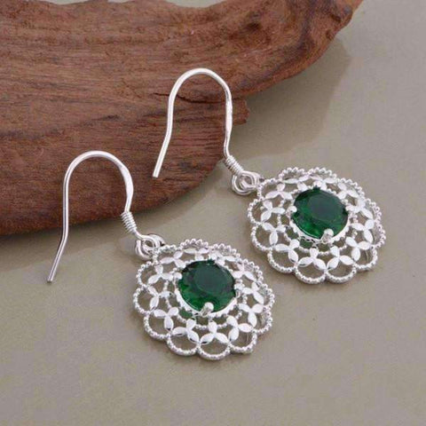 Feshionn IOBI Sets Deepest Green CZ Sterling Silver Filigree Medallion Matching Necklace and Earring Set