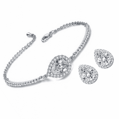 Feshionn IOBI Sets Diamond White Perfect Pear Austrian Crystal Halo 1CT Stud Earrings and Matching 2CT Bracelet