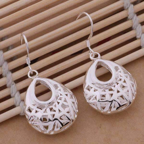 Feshionn IOBI Sets Droplet Sterling Silver Filigree Cage Matching Necklace and Earring Set