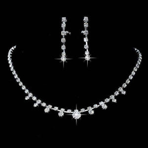 Feshionn IOBI Sets Elliptical Crystal Choker Necklace and Earring Set