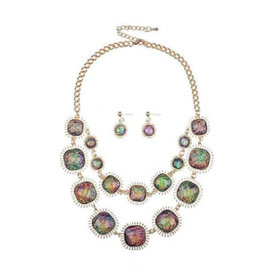 Feshionn IOBI Sets Exotic Peacock Iridescent Cabochon Layered Necklace and Earring Set