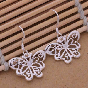 Feshionn IOBI Sets Flights of Fancy Sterling Silver Butterfly Matching Necklace and Earring Set
