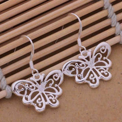 Flights of Fancy Sterling Silver Butterfly Matching Necklace and Earrings Set