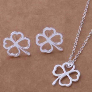 Feshionn IOBI Sets Four Leaf Clover Silhouette Sterling Silver Necklace and Earrings Set