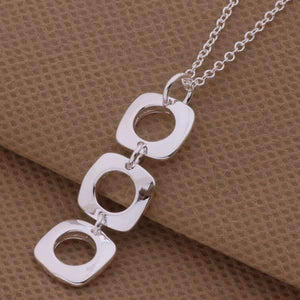 Feshionn IOBI Sets Geometric Links Sterling Silver Necklace, Earrings and Bracelet Set