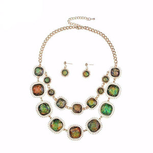 Feshionn IOBI Sets Green-Gold Exotic Peacock Iridescent Cabochon Layered Necklace and Earring Set