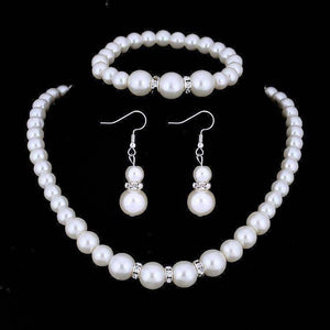 Feshionn IOBI Sets Ivory ON SALE - Ivory Pearl and Crystal Bead Necklace Bracelet and Earring Set