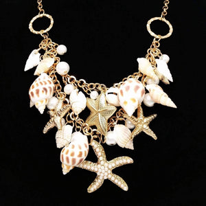 Feshionn IOBI Sets Mermaid's Collar Seashell & Starfish Gold Plated Necklace or Bracelet