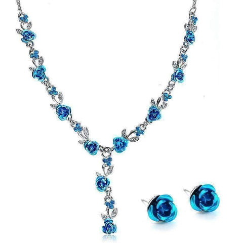 Feshionn IOBI Sets Metallic Blue Reflections of Rose Necklace and Stud Earring Set - Available in Four Colors