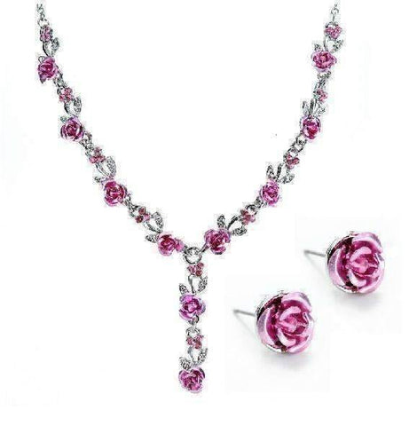 Feshionn IOBI Sets Metallic Pink Reflections of Rose Necklace and Stud Earring Set - Available in Four Colors