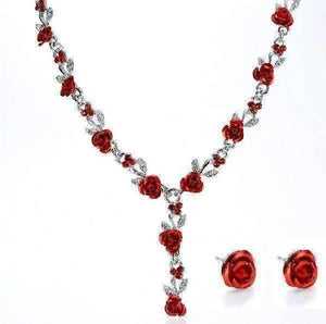 Feshionn IOBI Sets Metallic Red Reflections of Rose Necklace and Stud Earring Set - Available in Four Colors