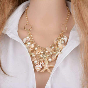 Feshionn IOBI Sets Necklace Mermaid's Collar Seashell & Starfish Gold Plated Necklace or Bracelet