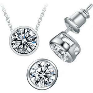 Feshionn IOBI Sets ON SALE - Bezel Duo 2CT IOBI Crystals Matching Pendant and Earrings Set