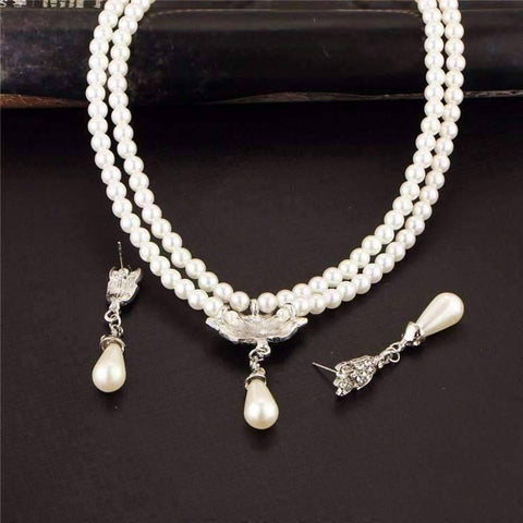 Feshionn IOBI Sets ON SALE - Crystal Medallion Two Strand Ivory Pearl Bead Necklace and Earring Set